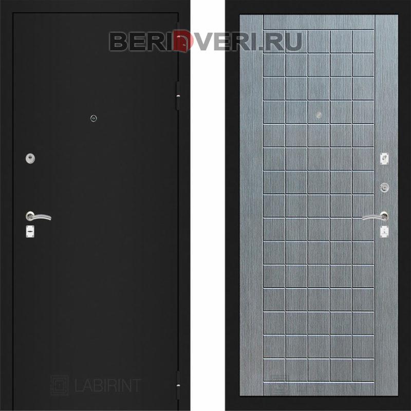 Металлическая дверь Лабиринт CLASSIC Шагрень черная 09 Лен сильвер грей