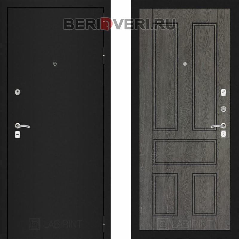 Металлическая дверь Лабиринт CLASSIC Шагрень черная 10 Дуб филадельфия графит