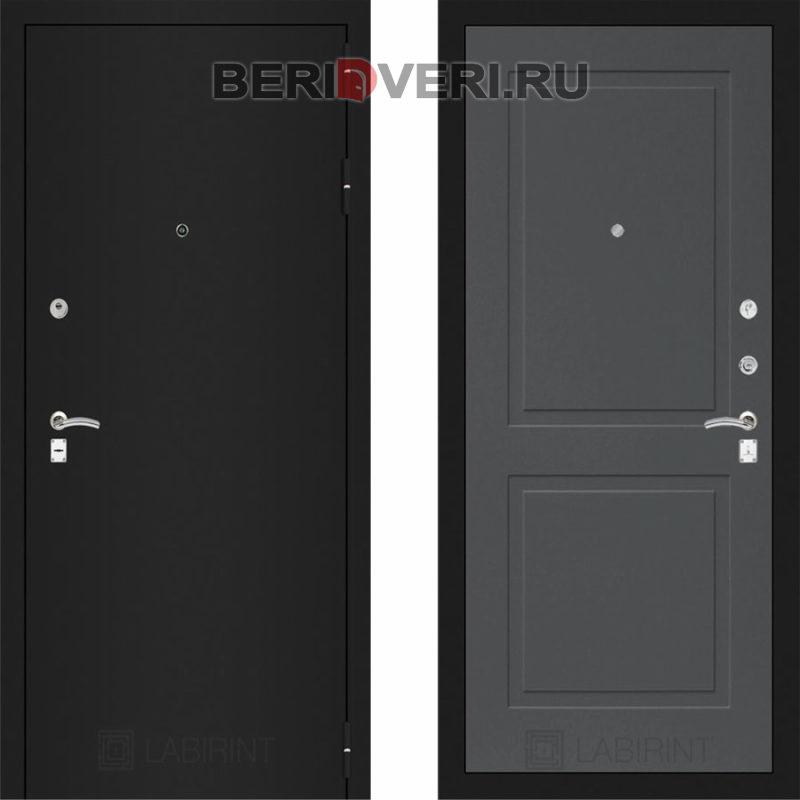 Металлическая дверь Лабиринт CLASSIC Шагрень черная 11 Графит софт