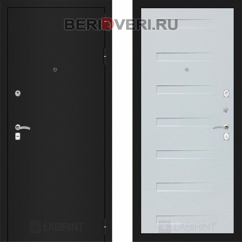 Металлическая дверь Лабиринт CLASSIC Шагрень черная 14 Дуб кантри белый горизонтальный