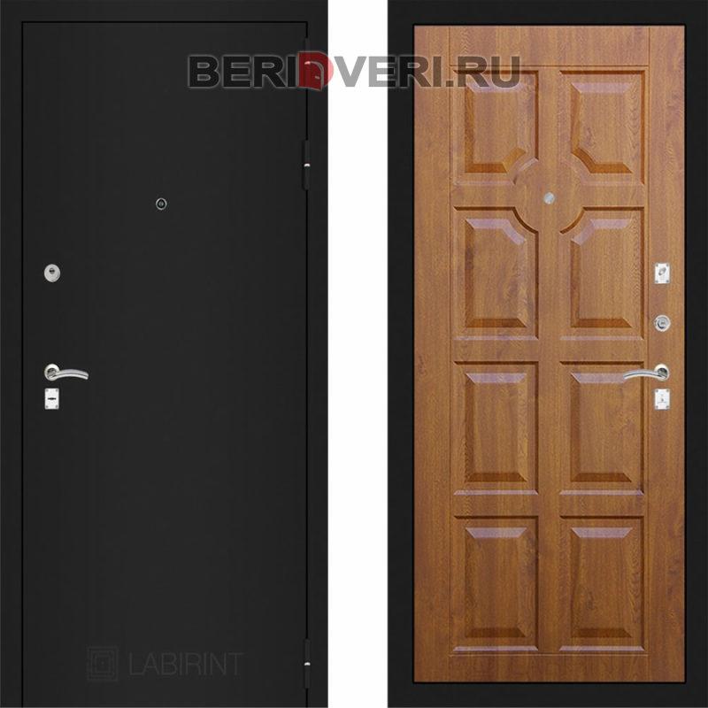 Металлическая дверь Лабиринт CLASSIC Шагрень черная 17 Золотой дуб