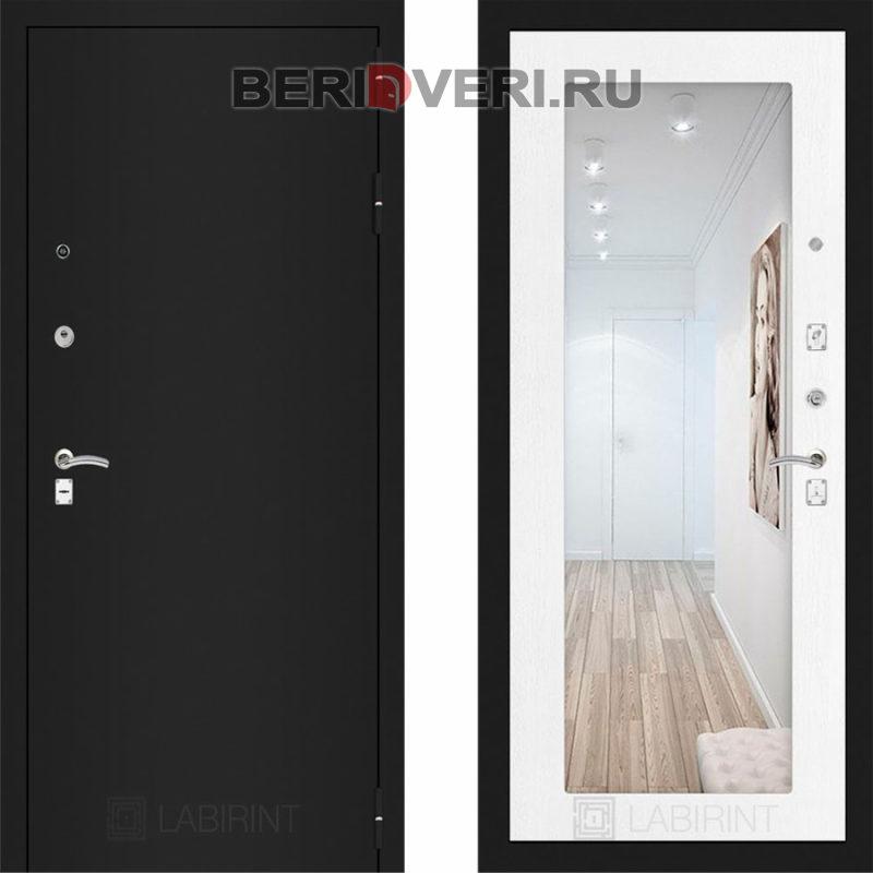 Металлическая дверь Лабиринт CLASSIC Шагрень черная с Зеркалом 18 - Белое дерево