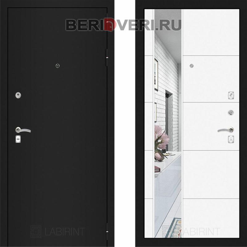 Металлическая дверь Лабиринт CLASSIC Шагрень черная с Зеркалом 19 Белый софт