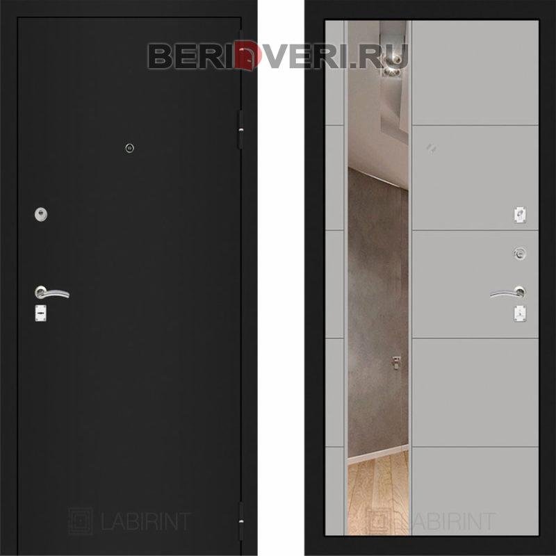Металлическая дверь Лабиринт CLASSIC Шагрень черная с Зеркалом 19 Грэй софт