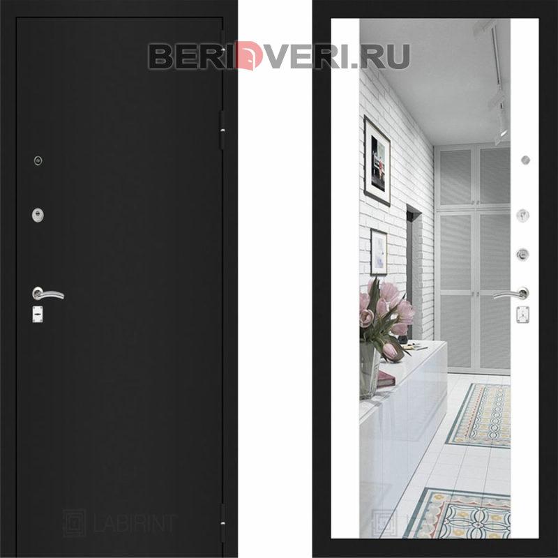 Металлическая дверь Лабиринт CLASSIC Шагрень черная с Зеркалом Максимум - Белый софт