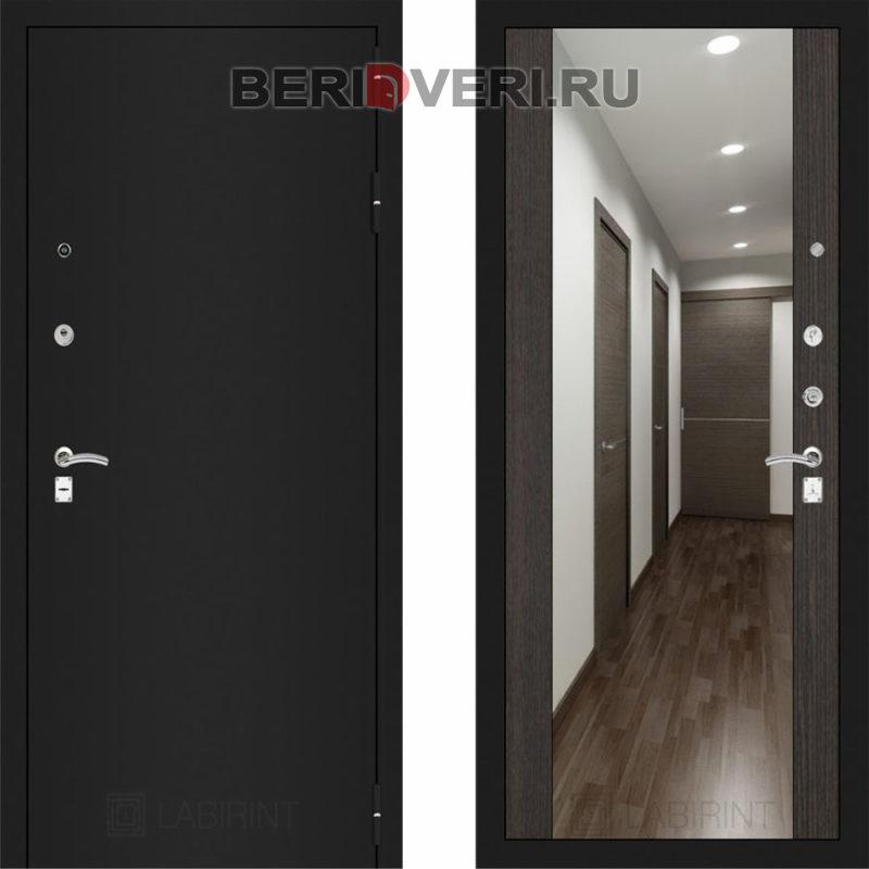 Металлическая дверь Лабиринт CLASSIC Шагрень черная с Зеркалом Максимум - Венге