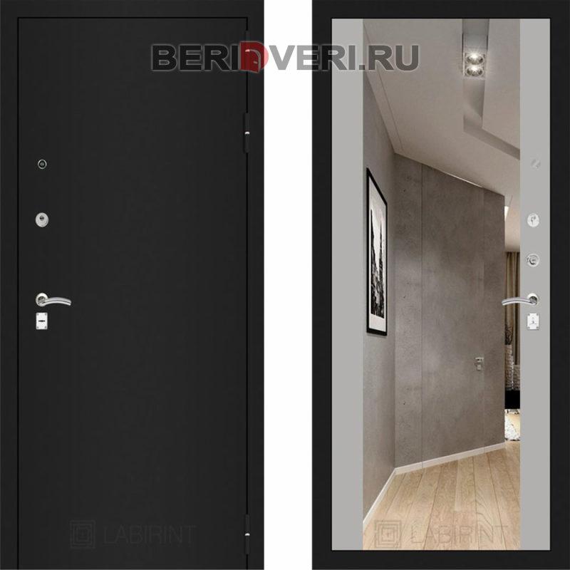 Металлическая дверь Лабиринт CLASSIC Шагрень черная с Зеркалом Максимум - Софт Грэй