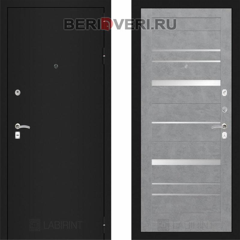 Металлическая дверь Лабиринт CLASSIC Шагрень черная 20 Бетон светлый