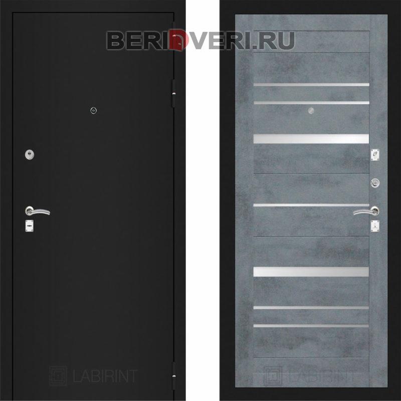 Металлическая дверь Лабиринт CLASSIC Шагрень черная 20 Бетон темный