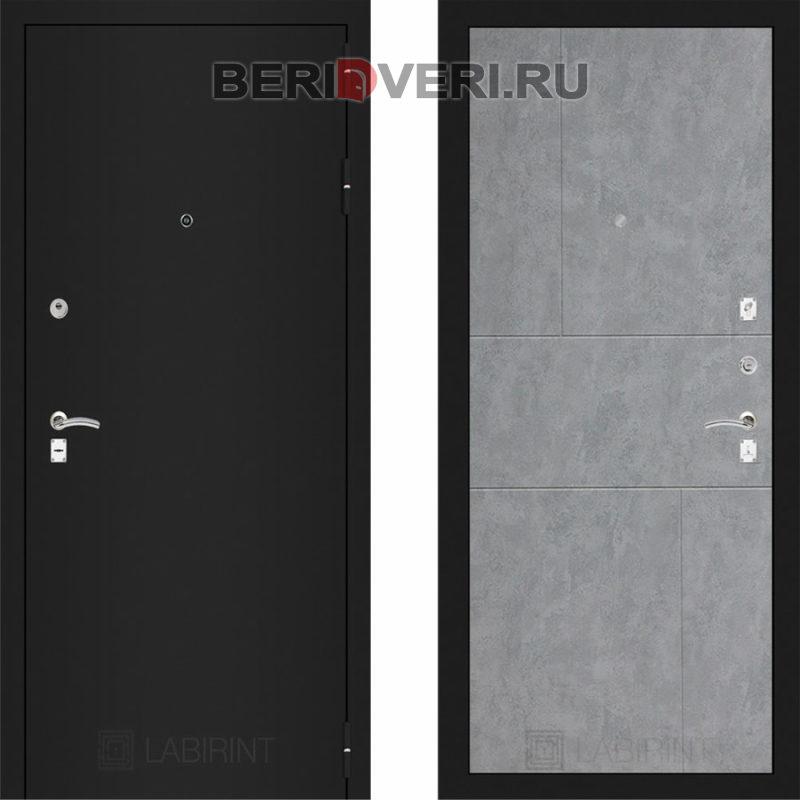 Металлическая дверь Лабиринт CLASSIC Шагрень черная 21 Бетон светлый