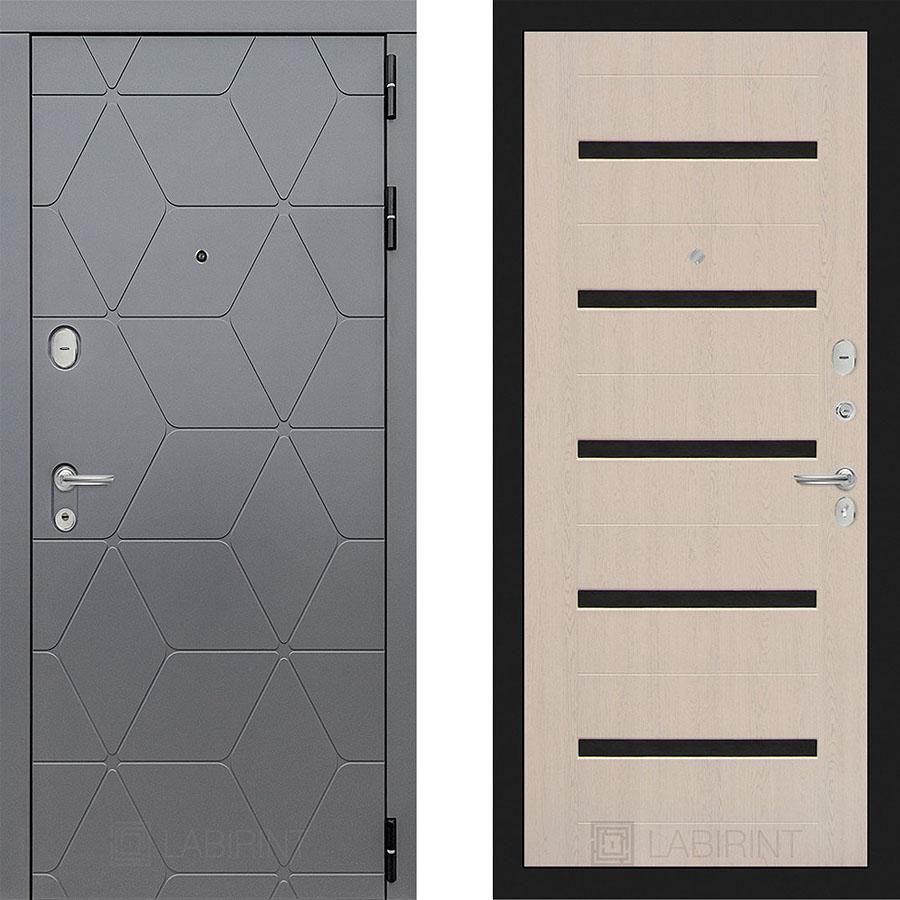 Металлическая дверь Лабиринт COSMO 01 Беленый дуб