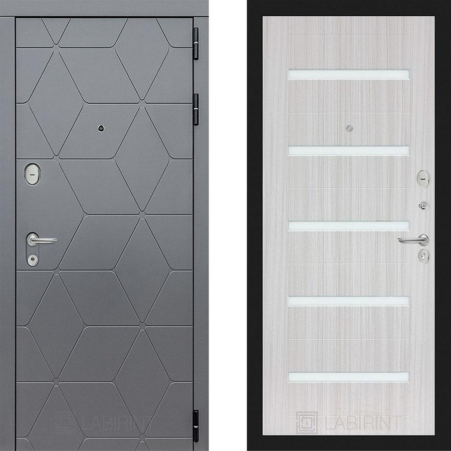 Металлическая дверь Лабиринт COSMO 01 Сандал белый