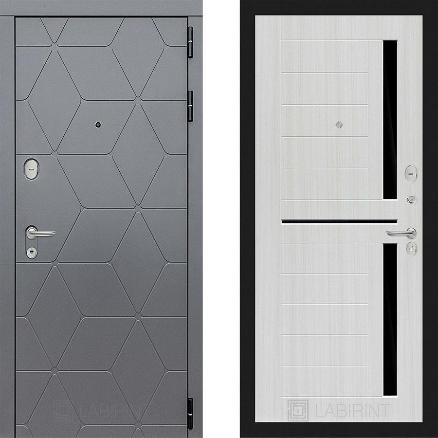Металлическая дверь Лабиринт COSMO 02 Сандал белый