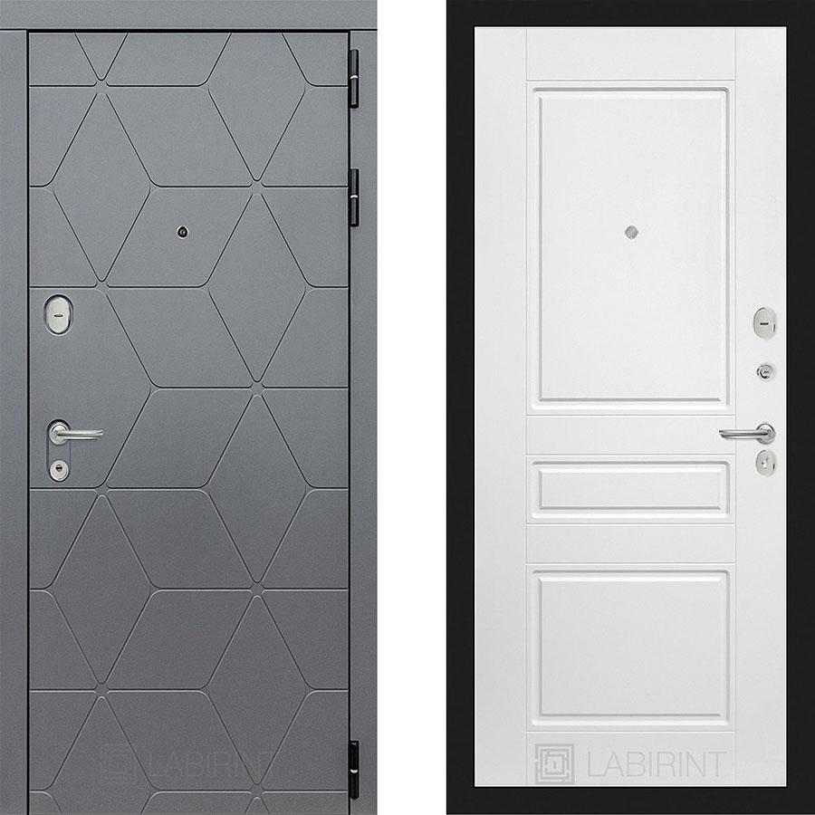 Металлическая дверь Лабиринт COSMO 03 Белый софт