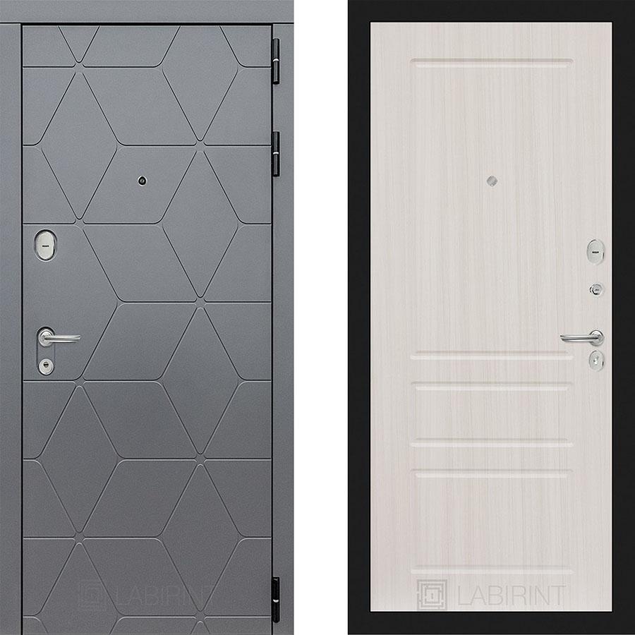 Металлическая дверь Лабиринт COSMO 03 Сандал белый