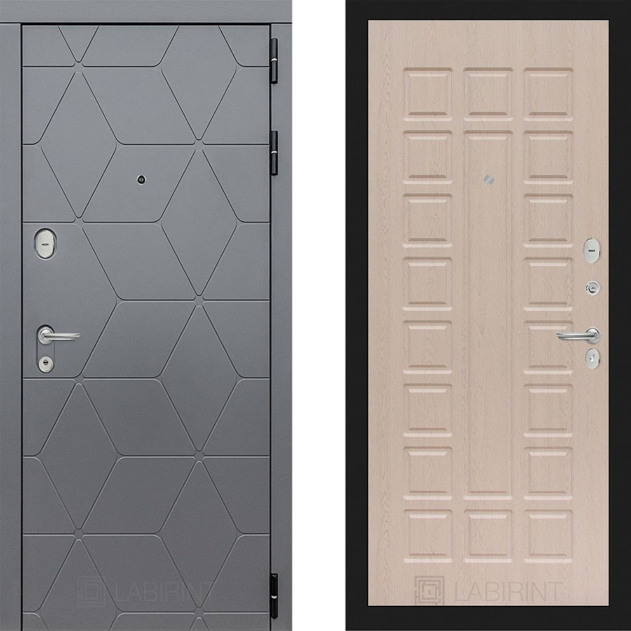 Металлическая дверь Лабиринт COSMO 04 Беленый дуб