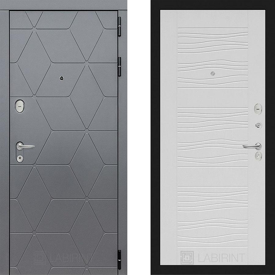 Металлическая дверь Лабиринт COSMO 06 Белое дерево