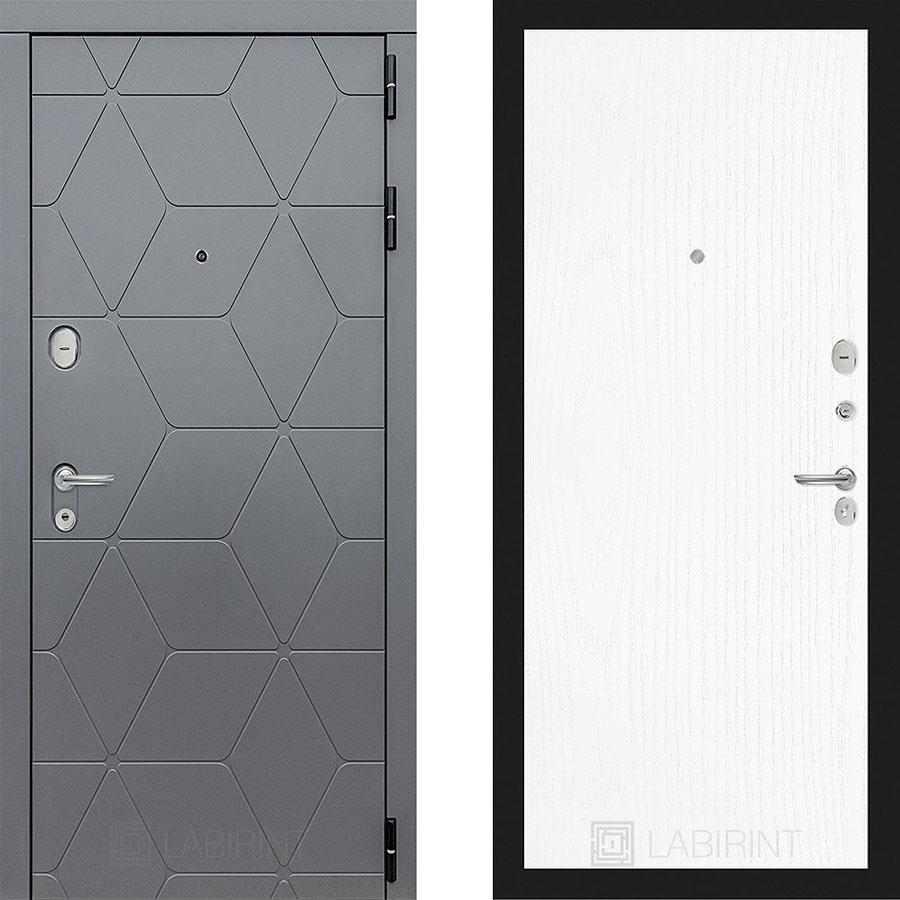 Металлическая дверь Лабиринт COSMO 07 Белое дерево