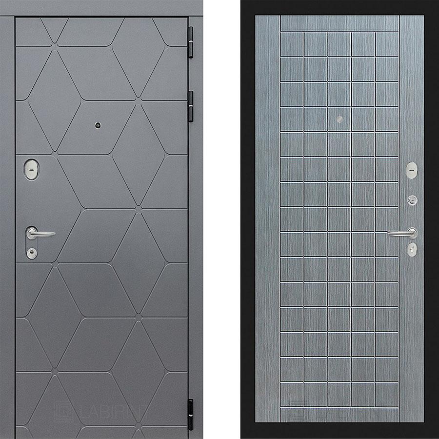 Металлическая дверь Лабиринт COSMO 09 Лен сильвер грэй
