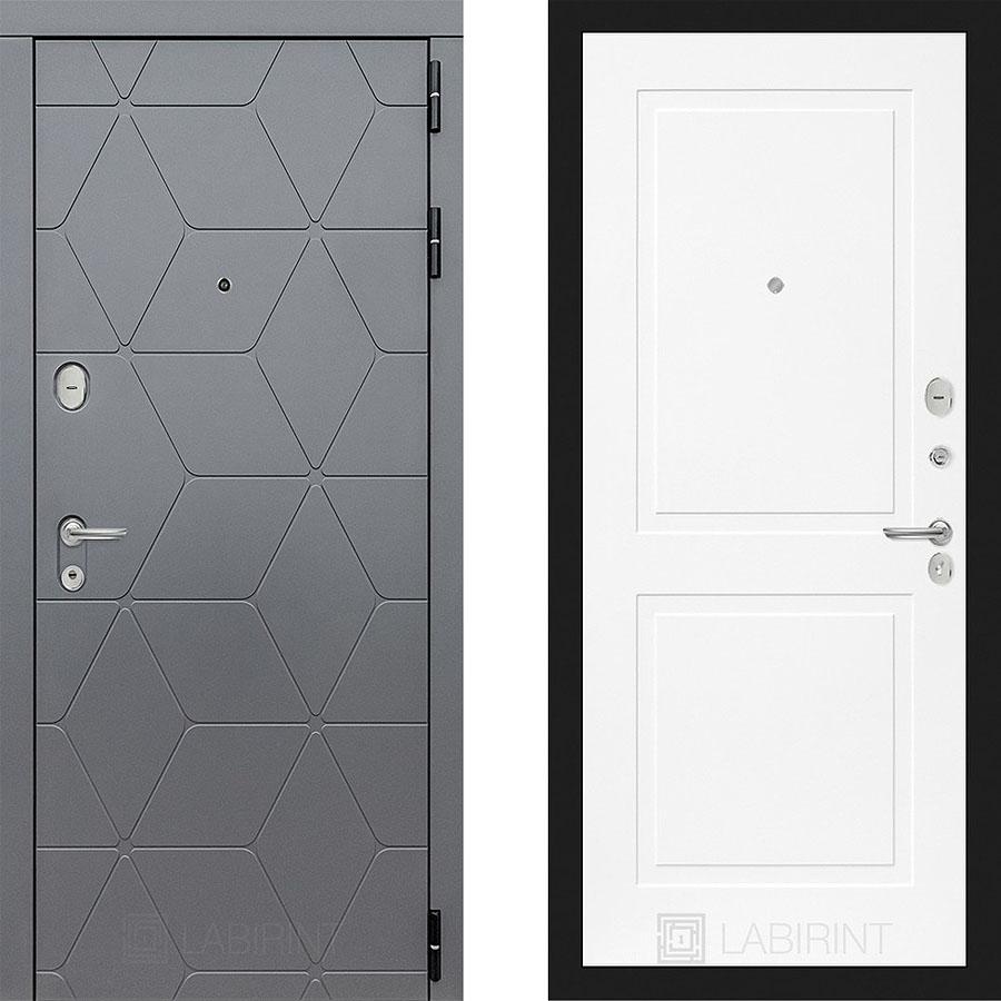 Металлическая дверь Лабиринт COSMO 11 Белый софт