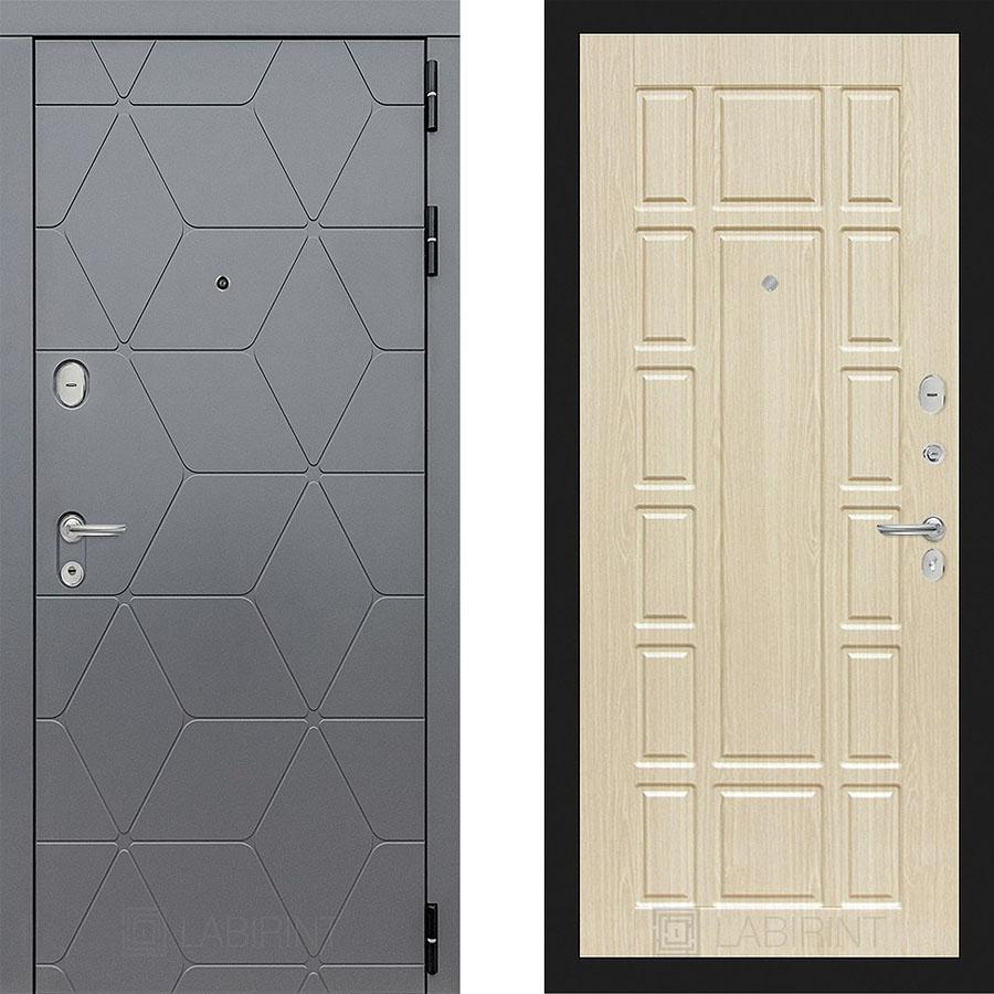 Металлическая дверь Лабиринт COSMO 12 Беленый дуб