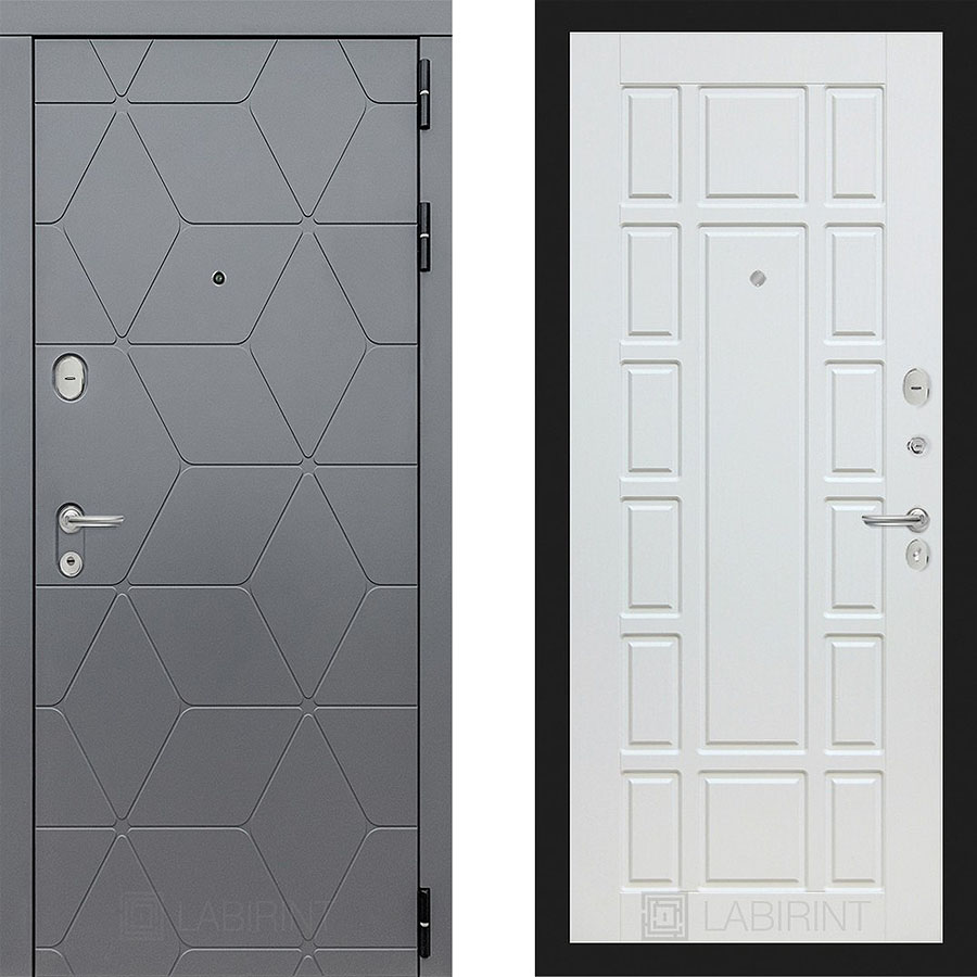 Металлическая дверь Лабиринт COSMO 12 Белое дерево