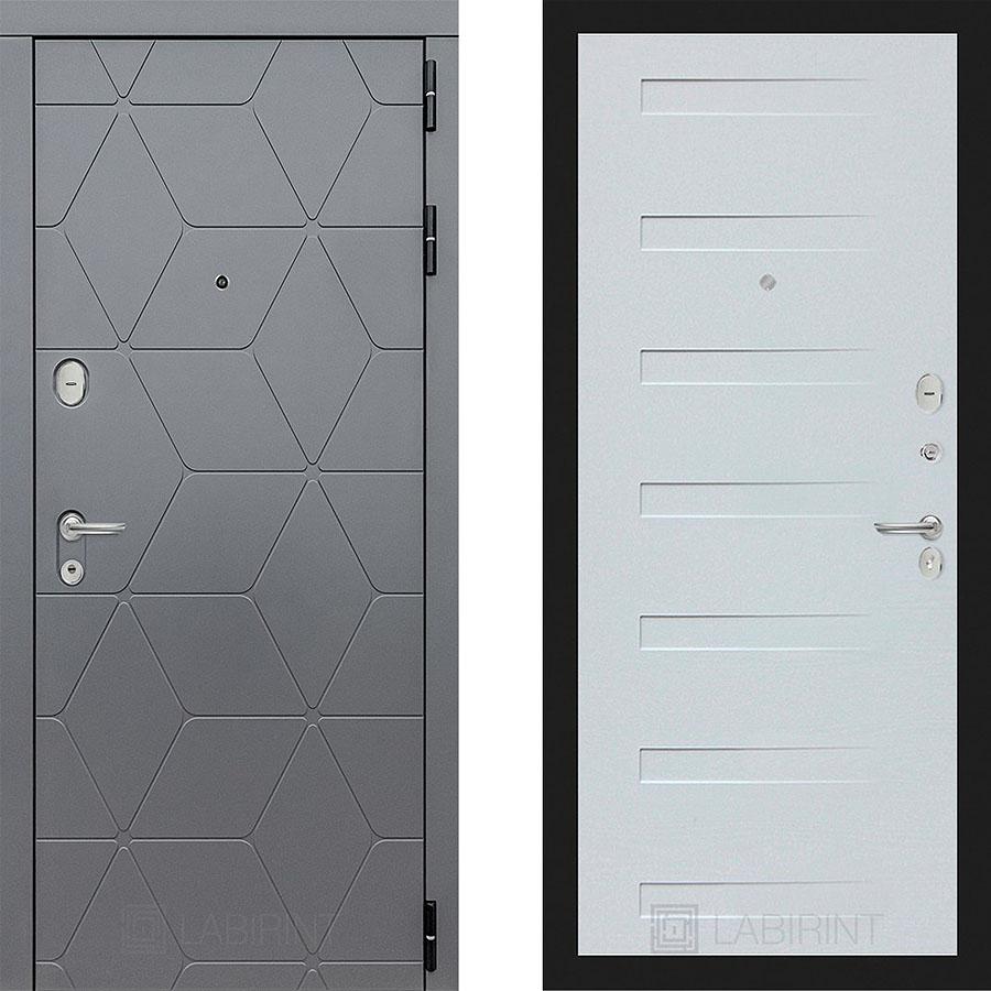 Металлическая дверь Лабиринт COSMO 14 Дуб кантри белый горизонтальный