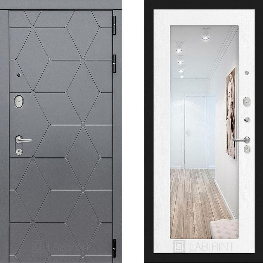 Металлическая дверь Лабиринт COSMO 18 Зеркало Белое дерево