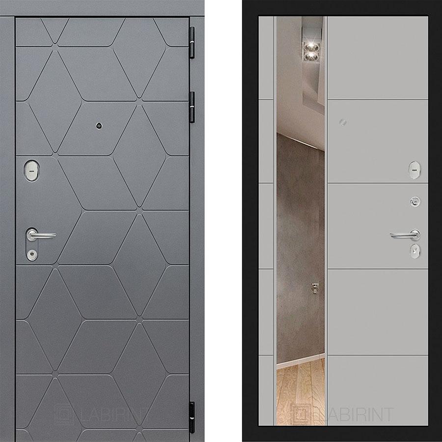 Металлическая дверь Лабиринт COSMO 19 Зеркало Белый софт