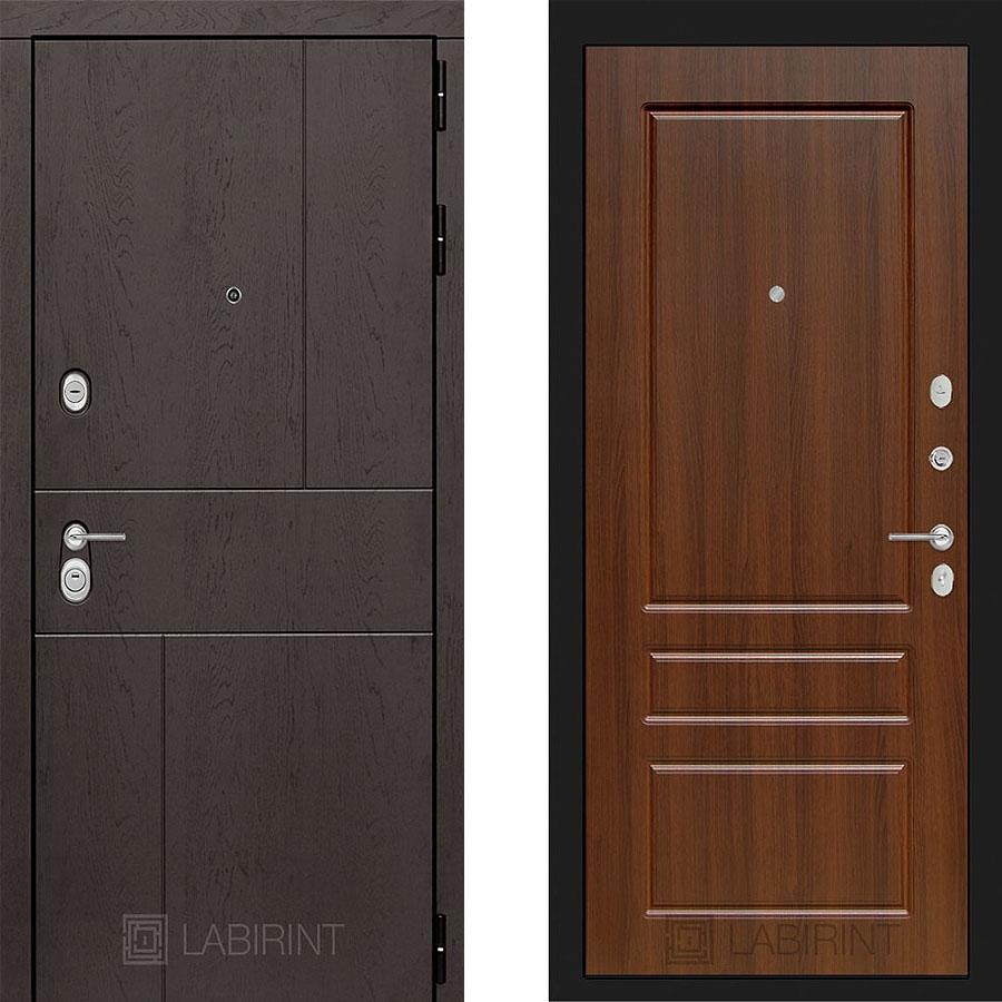 Металлическая дверь Лабиринт URBAN 03 Орех бренди
