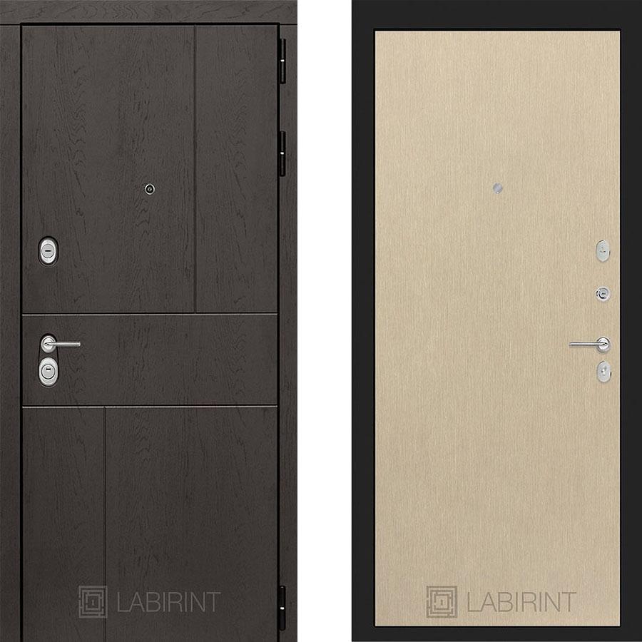 Металлическая дверь Лабиринт URBAN 05 Венге светлый