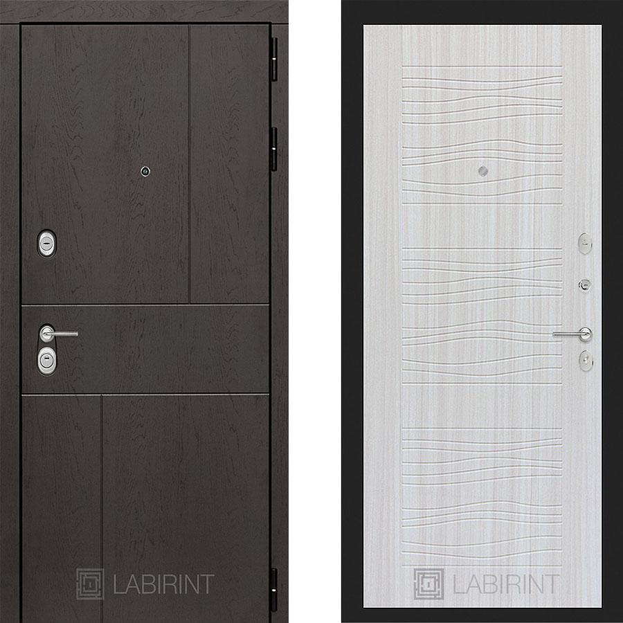 Металлическая дверь Лабиринт URBAN 06 Сандал белый