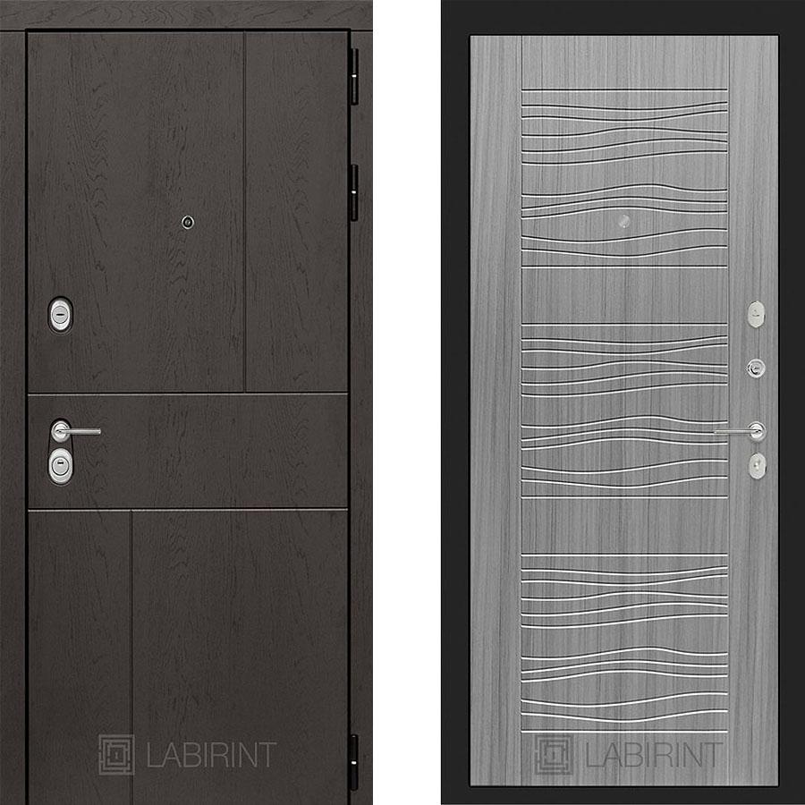 Металлическая дверь Лабиринт URBAN 06 Сандал серый
