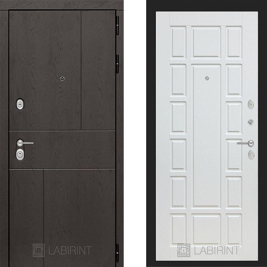 Металлическая дверь Лабиринт URBAN 12 Белое дерево