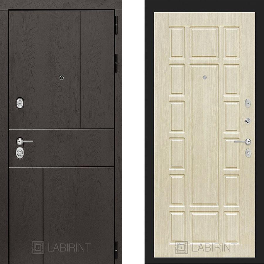 Металлическая дверь Лабиринт URBAN 12 Беленый дуб