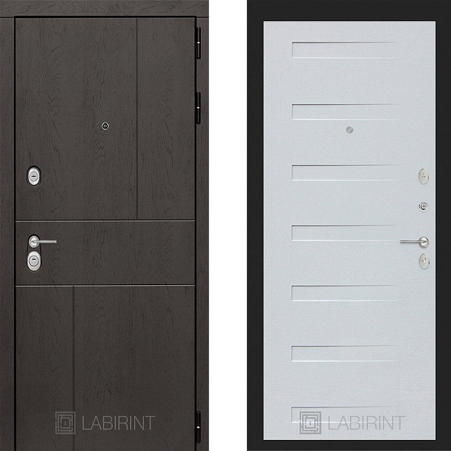Металлическая дверь Лабиринт URBAN 14 Дуб кантри белый горизонтальный