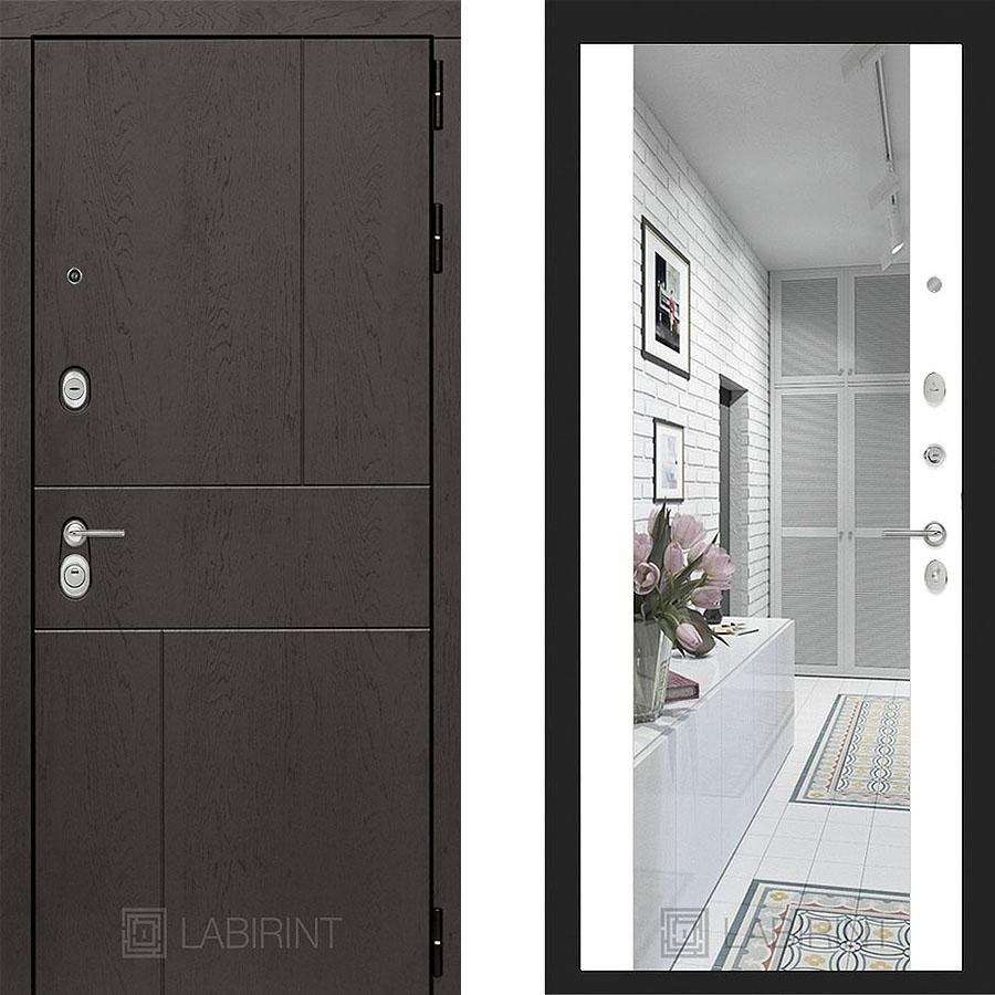 Металлическая дверь Лабиринт URBAN Зеркало Максимум  Белый софт