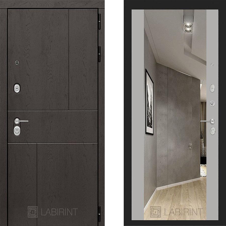 Металлическая дверь Лабиринт URBAN Зеркало Максимум Грэй софт