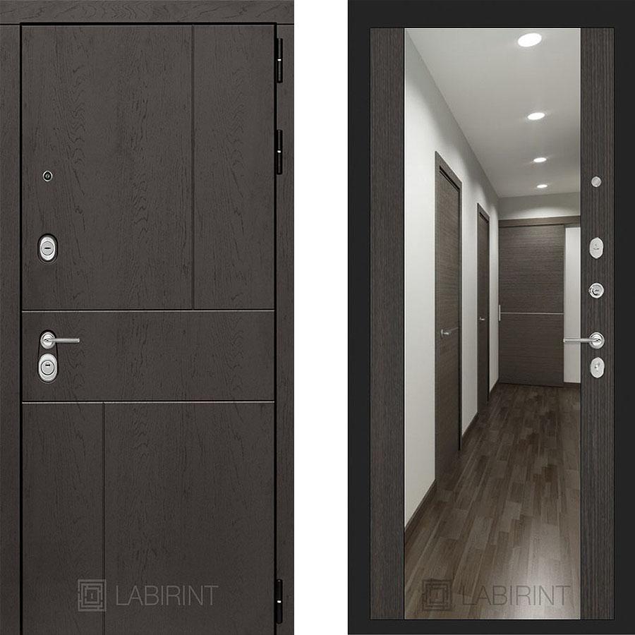 Металлическая дверь Лабиринт URBAN Зеркало Максимум Венге