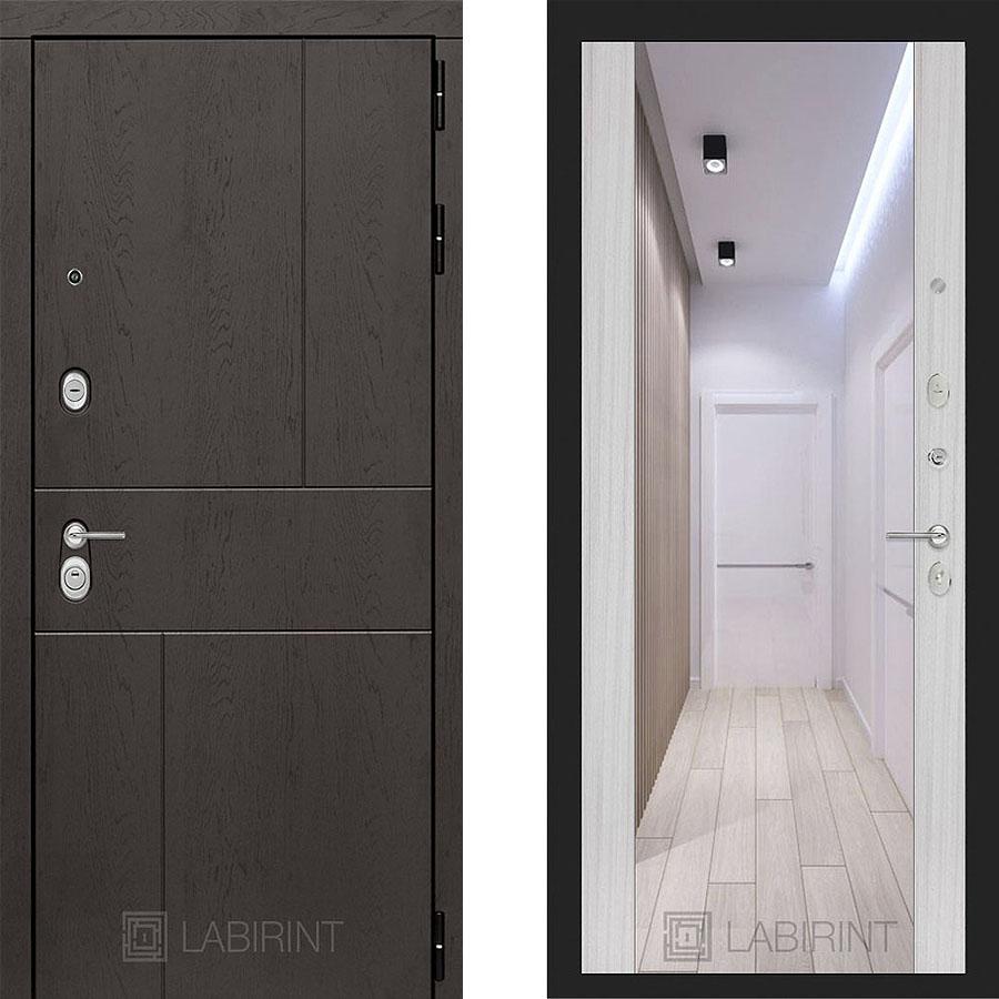 Металлическая дверь Лабиринт URBAN Зеркало Максимум Сандал белый