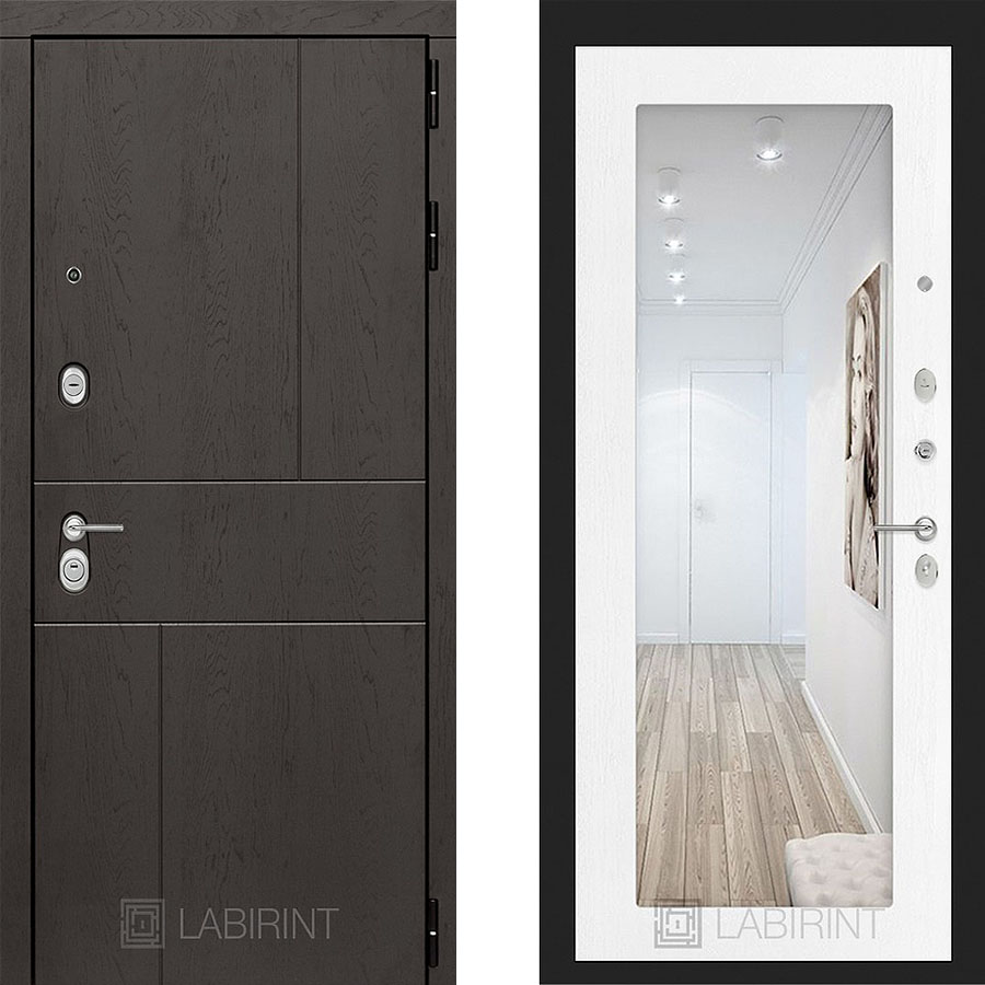 Металлическая дверь Лабиринт URBAN 18 Зеркало Белое дерево