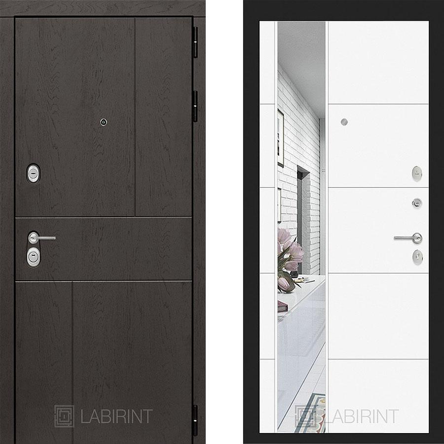 Металлическая дверь Лабиринт URBAN 19 Зеркало Белый софт