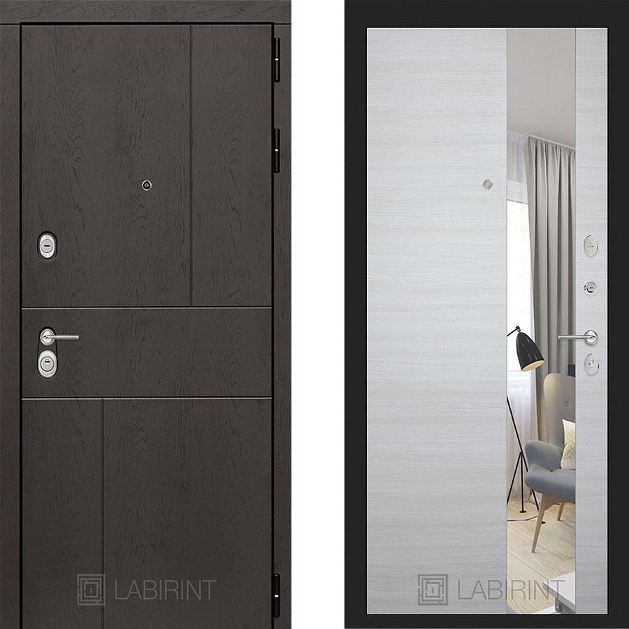 Металлическая дверь Лабиринт URBAN Зеркало Акация белая горизонтальная