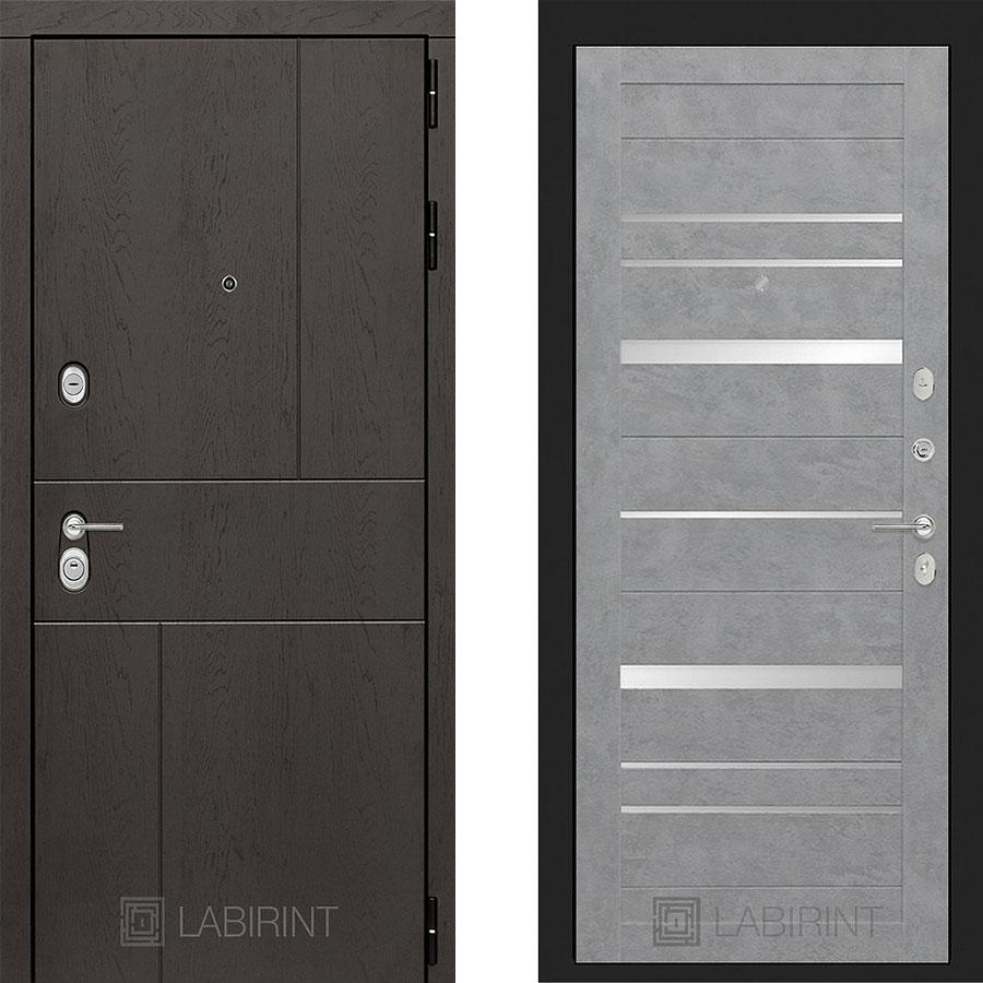 Металлическая дверь Лабиринт URBAN 21 Бетон светлый с зеркальными вставками