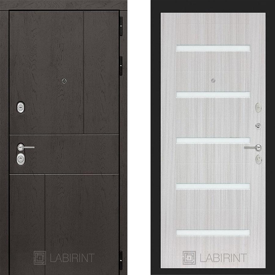 Металлическая дверь Лабиринт URBAN 01 Сандал белый