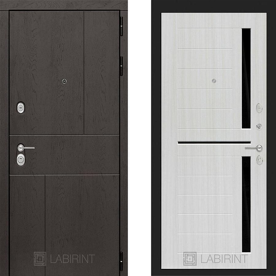 Металлическая дверь Лабиринт URBAN 02 Сандал белый