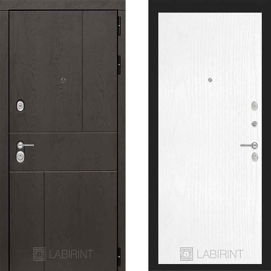 Металлическая дверь Лабиринт URBAN 07 Белое дерево