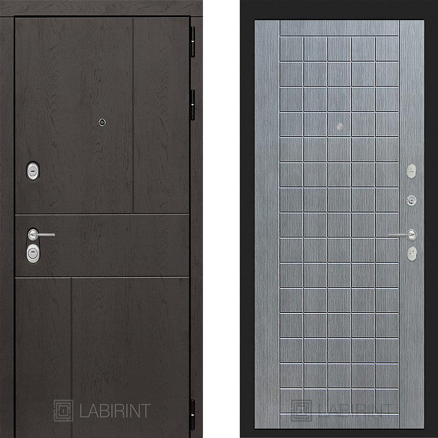 Металлическая дверь Лабиринт URBAN 09 Лен сильвер грей