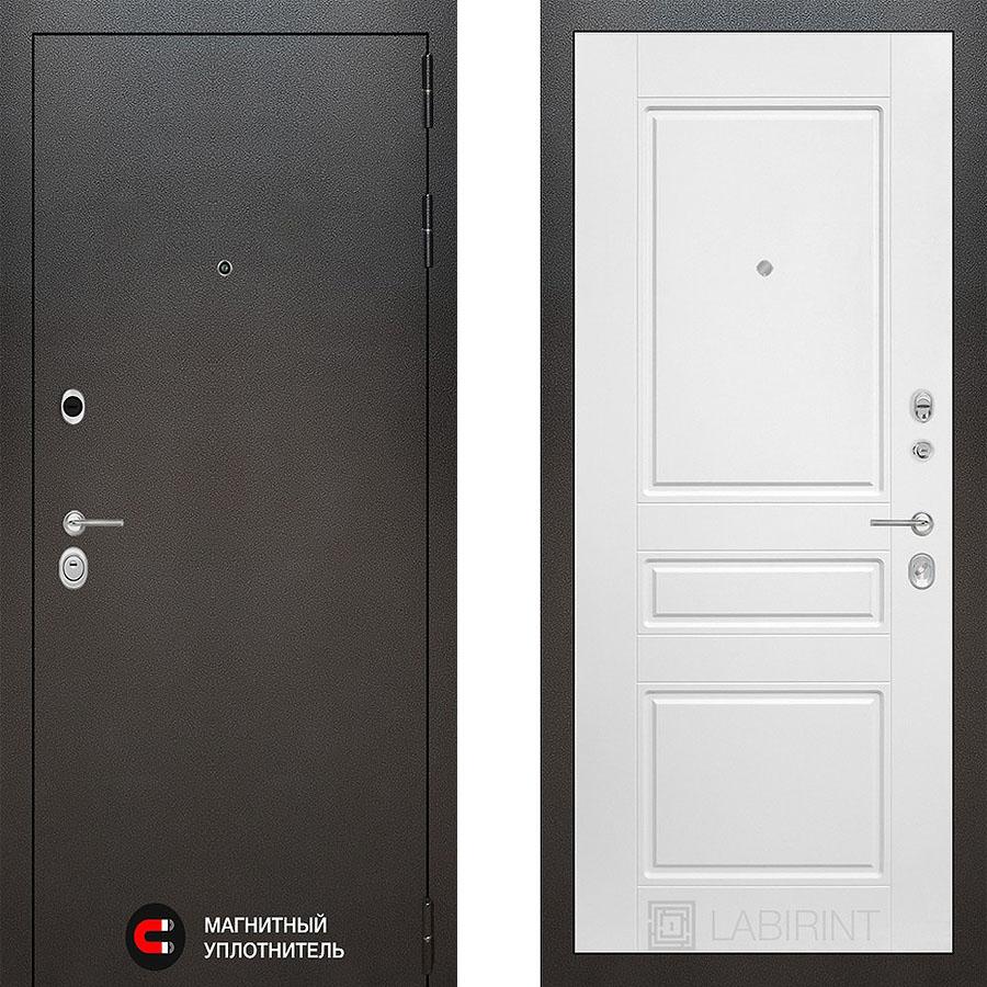 Металлическая дверь Лабиринт SILVER 03 Белый софт
