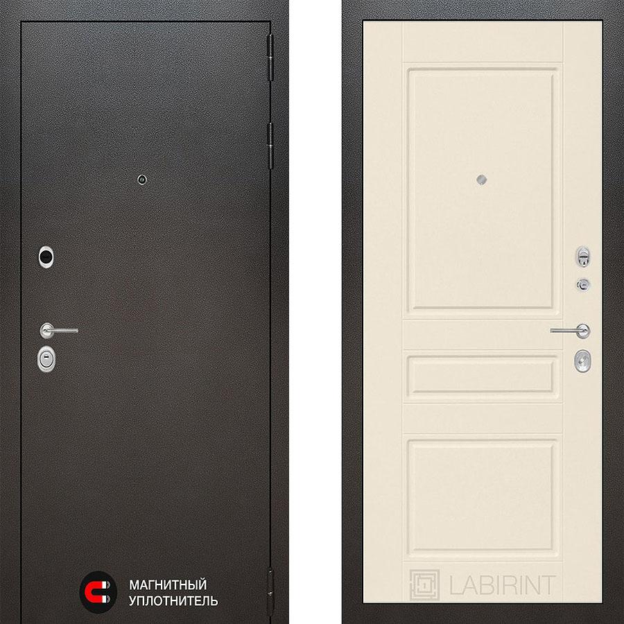 Металлическая дверь Лабиринт SILVER 03 Крем софт